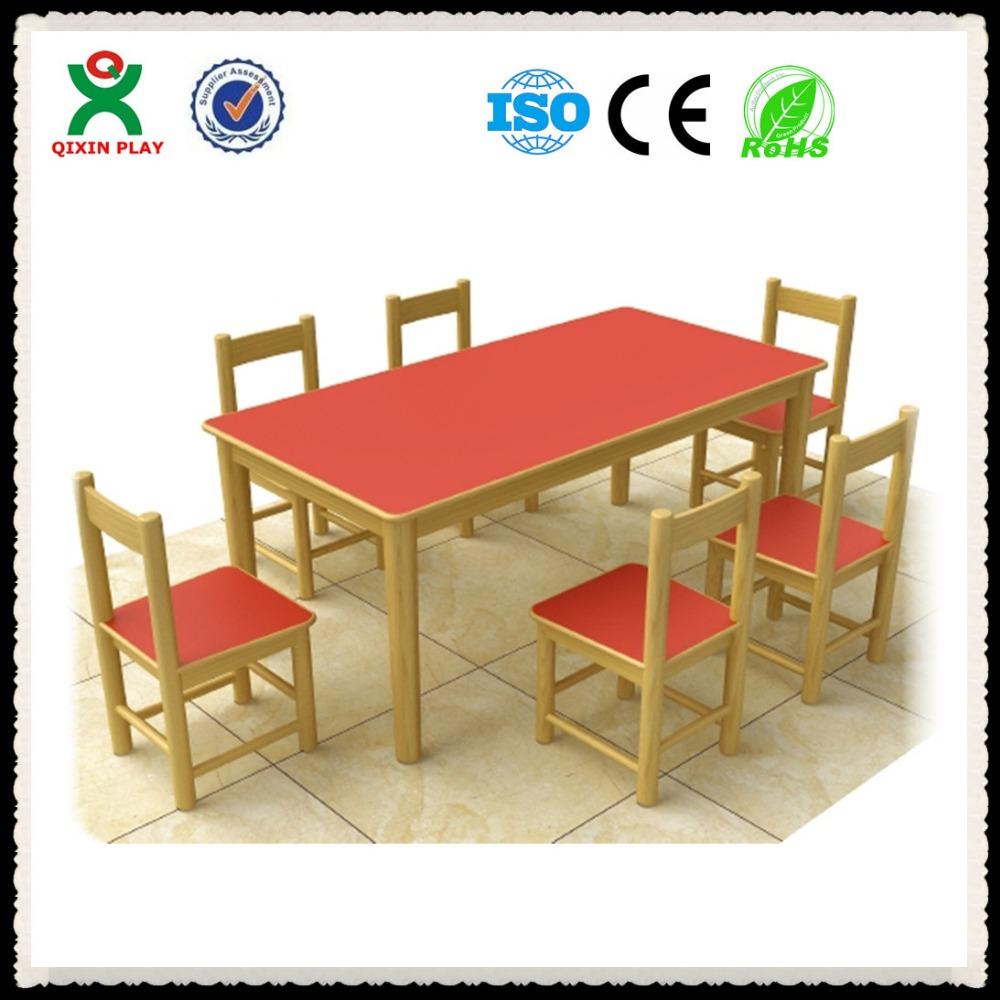 Le a mesa para seis ni os de madera muebles de madera - Mesas ninos madera ...