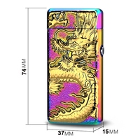 2019 Metal dual arc wholesale touch lighter Usb rechargeable 3D dragon Embossed gift lighter