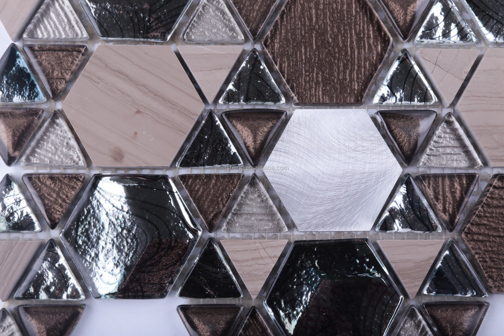 hexagon triangle star fashion design  wall backsplash metal color Athens grey marble mix glass mosaics tile
