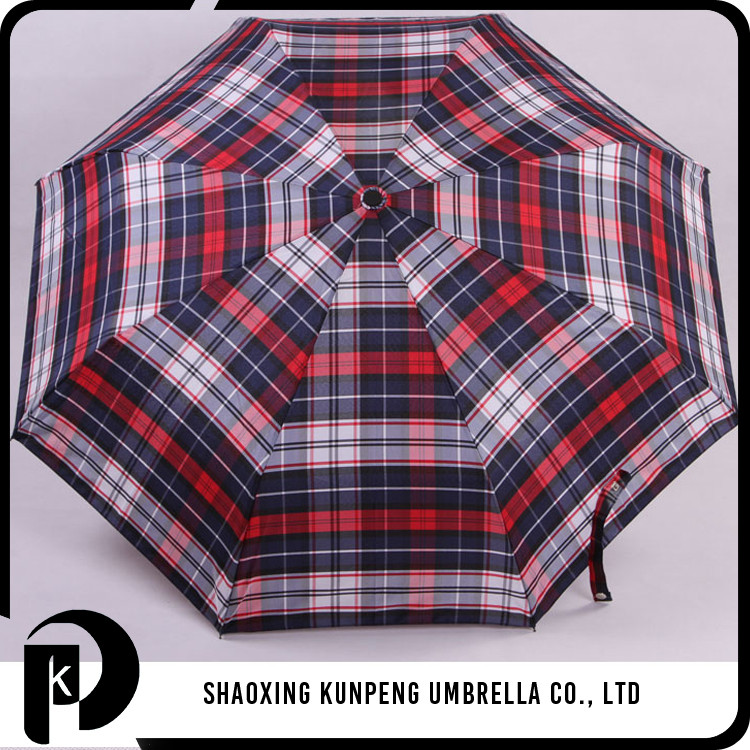 Large lattice design bulk buy 3 folds umbrella high quality plaid folding umbrella