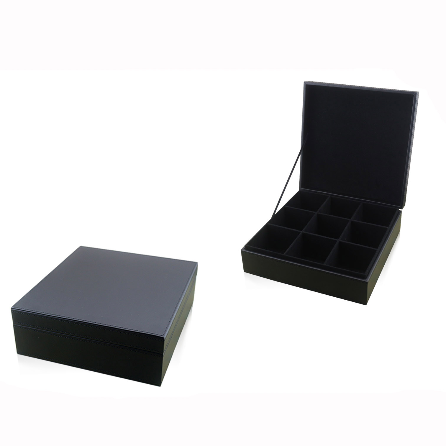 Chinese stylish black flip cover artistic tea box with compartment