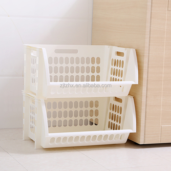 Plastic Stacking Storage Baskets 2 Tier Vegetable Rack