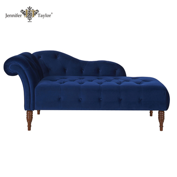 Factory With 20 Years History Home Furniture One Arm Bench Bedroom Luxury Velvet Upholstered Lounge Chaise