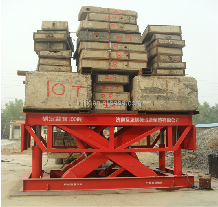 heavy capacity stationary fixed scissor lifting table max to 100t