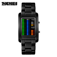 Official site stylish design 4 kinds color boot animation binary watches skmei 1103 waterproof LED watch