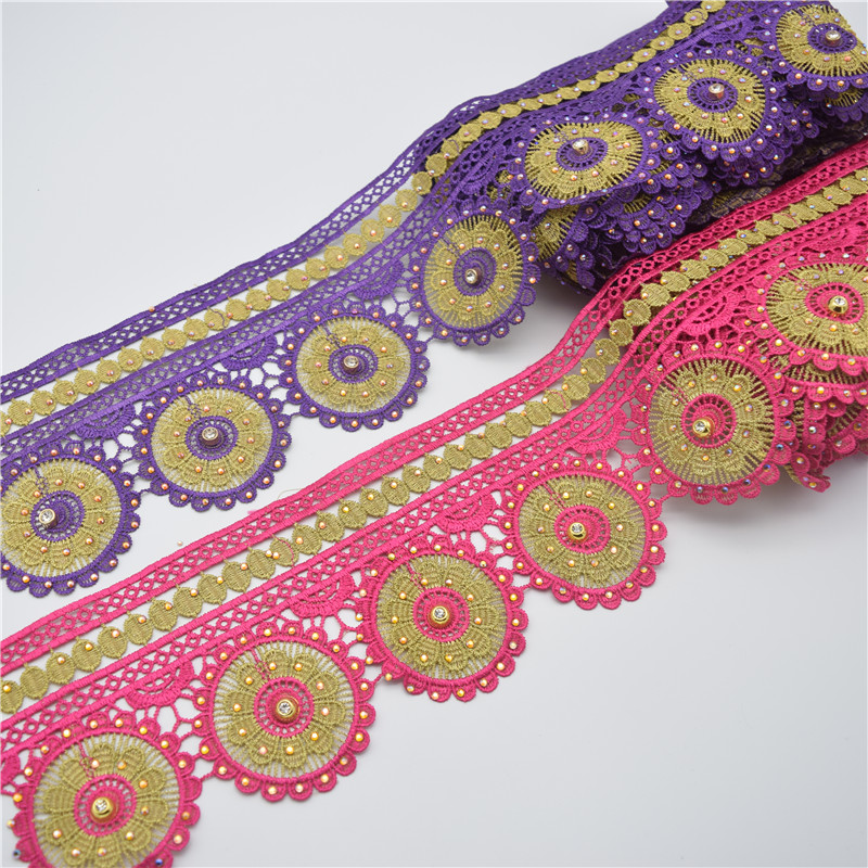 Textile Wholesale French Lace Embroidery Lace Ribbon Double colors
