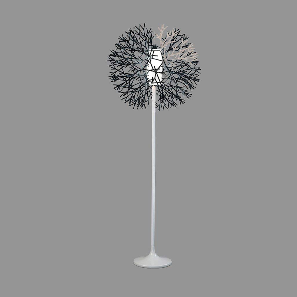 Coral Vertical Floor Lamp, Glass & PVC Lampshade, Single Stem Uplight, E27, Nordic Simple Style, Living Room Bedroom Study Office Creative Floor Lamp (Color : Black)