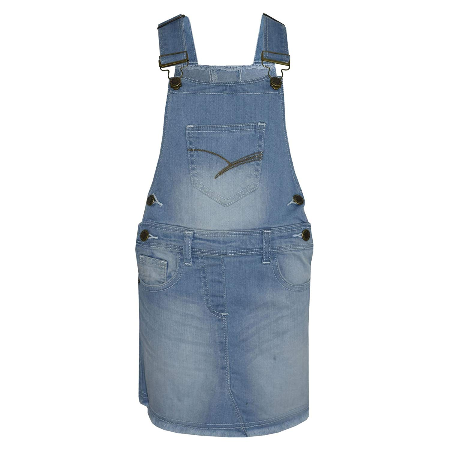 6b360a582732 Get Quotations · Kids Girls Denim Stretch Dungaree Skirt Jumpsuit Playsuit  All In One 2-13 Years