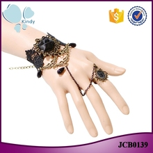 Joyería étnica al por mayor negro rose lace pulsera con anillo