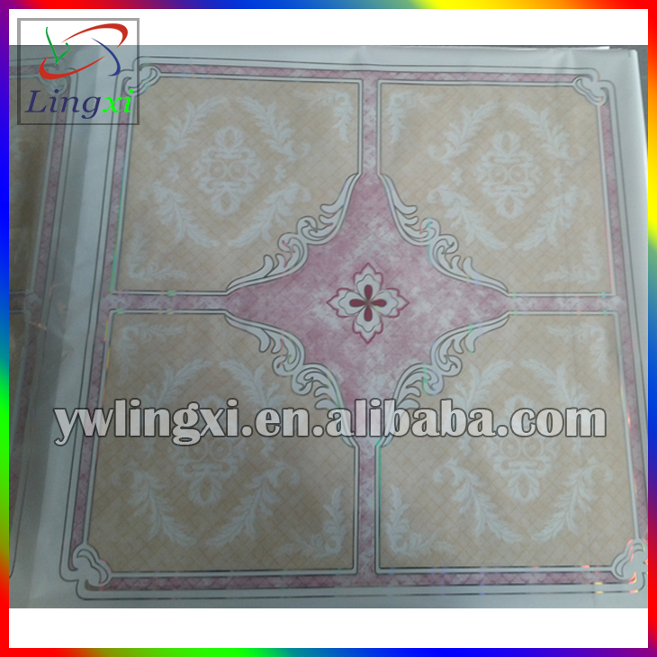 Fashion PVC ceiling panel board used hot foil stamping595/603mm
