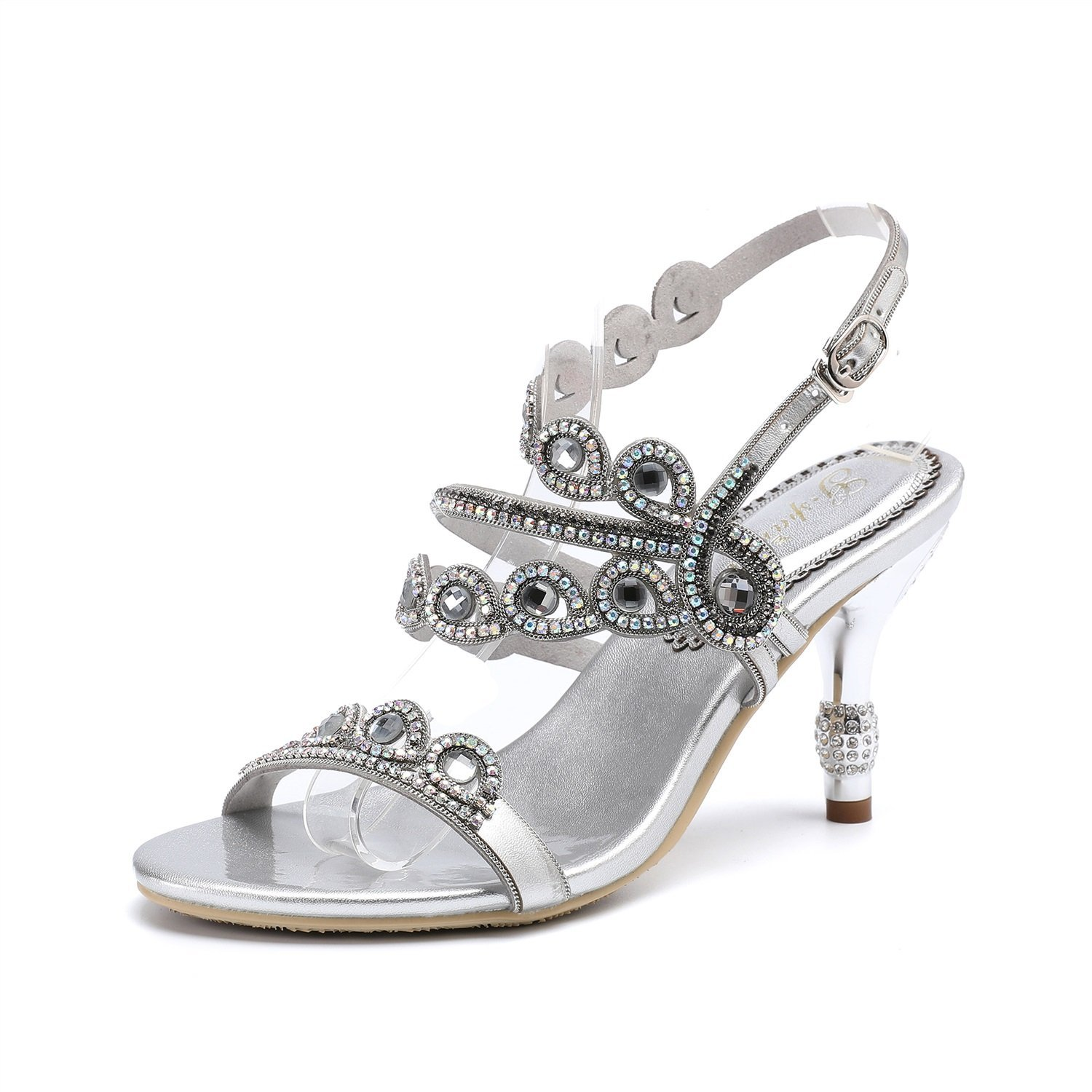 Huanhuan Women's Shoes Rhinestone Leather 2018 New Summer Rhinestone Hollows Sexy Sandals Diamond Mid Heel Open Toe Rhinestone Party Club Shoes