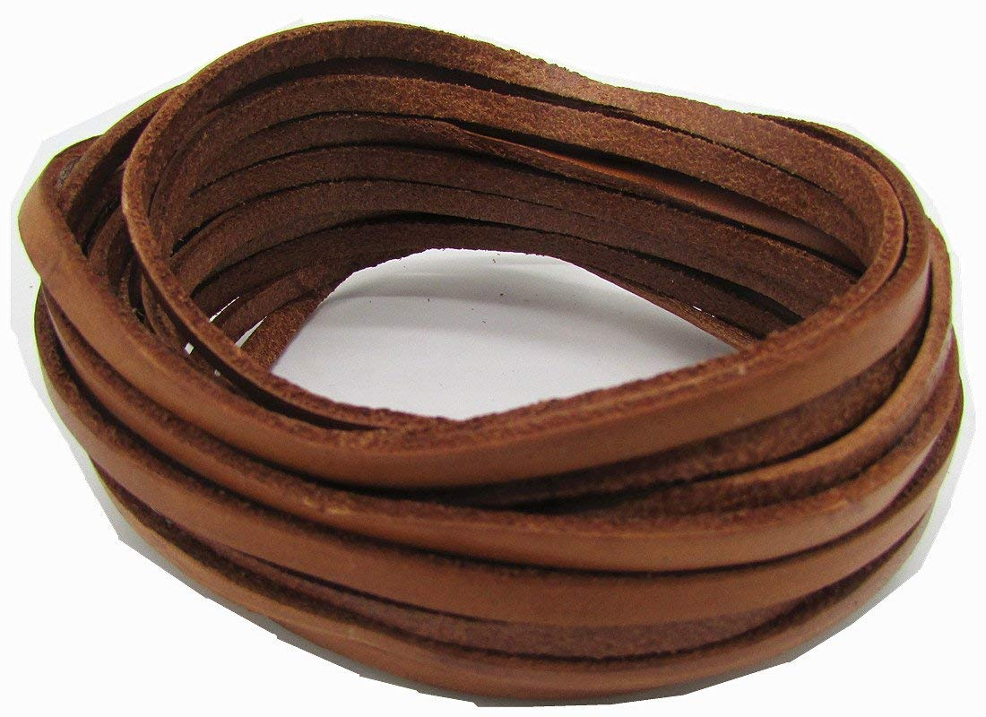 4.0mm Leather, Flat Leather Cord Bracelet Necklace Necklace 5 Meters (Natural, 5Meter)