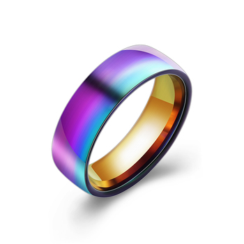 Men Women Rainbow Colorful Rings Titanium Steel Wedding Band Ring Width 6mm Size 6-12 Gift