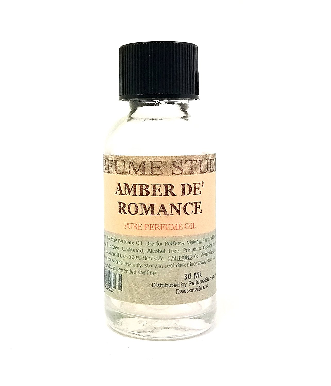 Amber De' Romance Pure Perfume Oil. Use for Perfume Making, Personal Body Oil, Soap, Candle Making & Incense; 1oz Splash-On Clear Glass Bottle. Pure Undiluted, Alcohol Free Undiluted Fragrance Oil