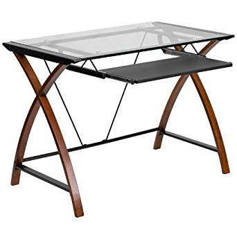 29'' Glass Computer Desk w/ Pull-Out Keyboard Tray w/ Crisscross Cherry Finished Legs (1 Desk) - FF-NAN-JN-2814S-GG