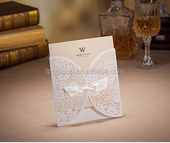 Muslim Wedding Invitation Card With White Lace Design