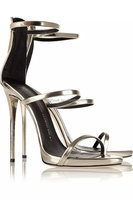 High Heels Elegant Sandals Three Straps Silver Sandals Back Zipper ...