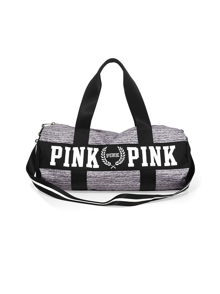 8724081757ef Get Quotations · Victoria s Secret Pink Gym Duffle Bag Tote Grey Marl Black
