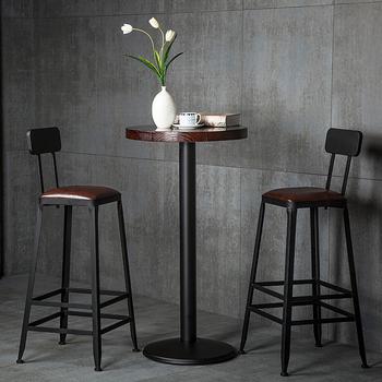 Iron Solid Wood European Bar Table And Stool Modern Minimalist Chair