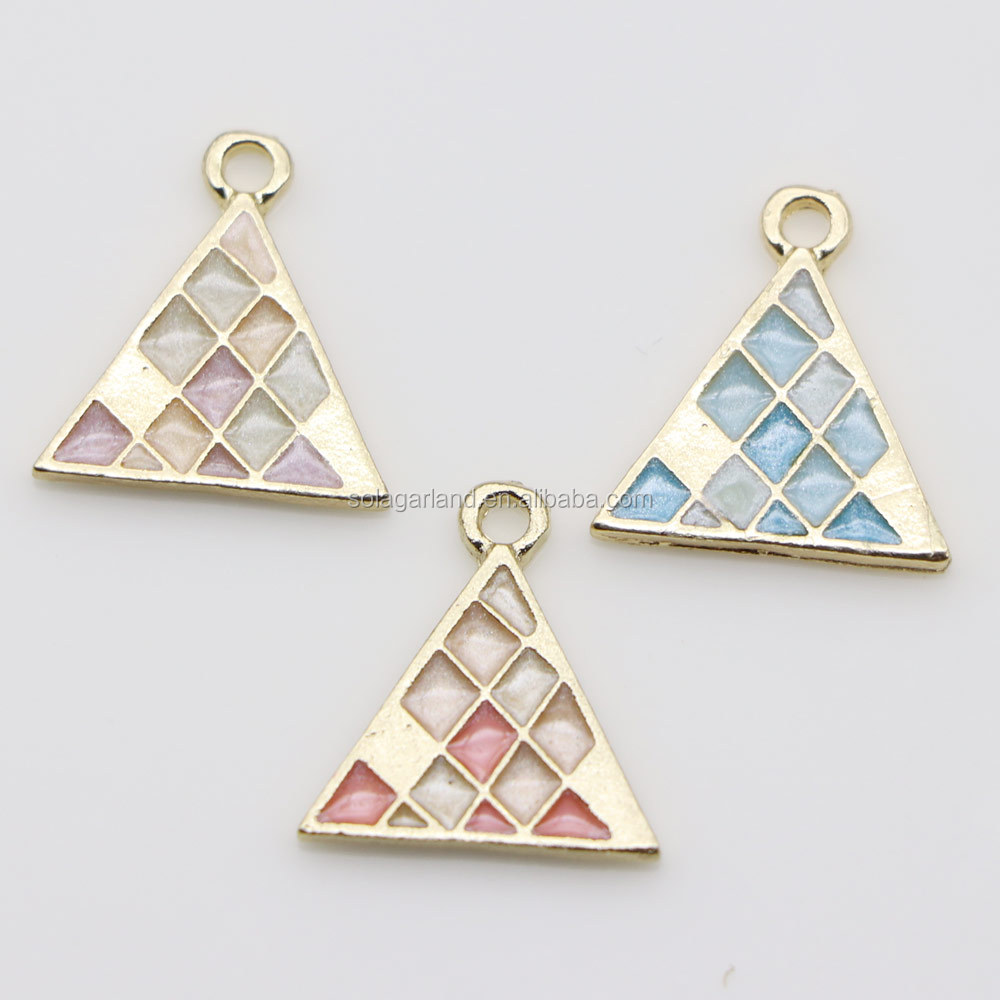 Gold Plated Enamel Stone Colorful Charms, Triangle Round Square Earring Drop Pendant For DIY Ear Stud Necklace Bracelet