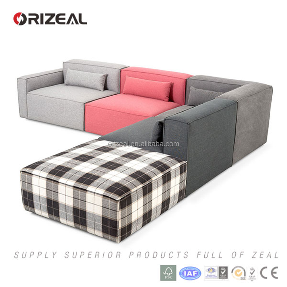 Simple Flat Pack Design Corner Sofas Pink Grey Colorful Modular Fabric Sofa Set China Furniture