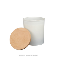 Wholesale wood lid matt white glass candle container wax candle container