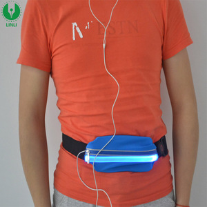 LED Waist Bag, USB Rechargeable Glowing Neon Fanny Pack With Earphone Hole, Adjustable Running Waist Pack