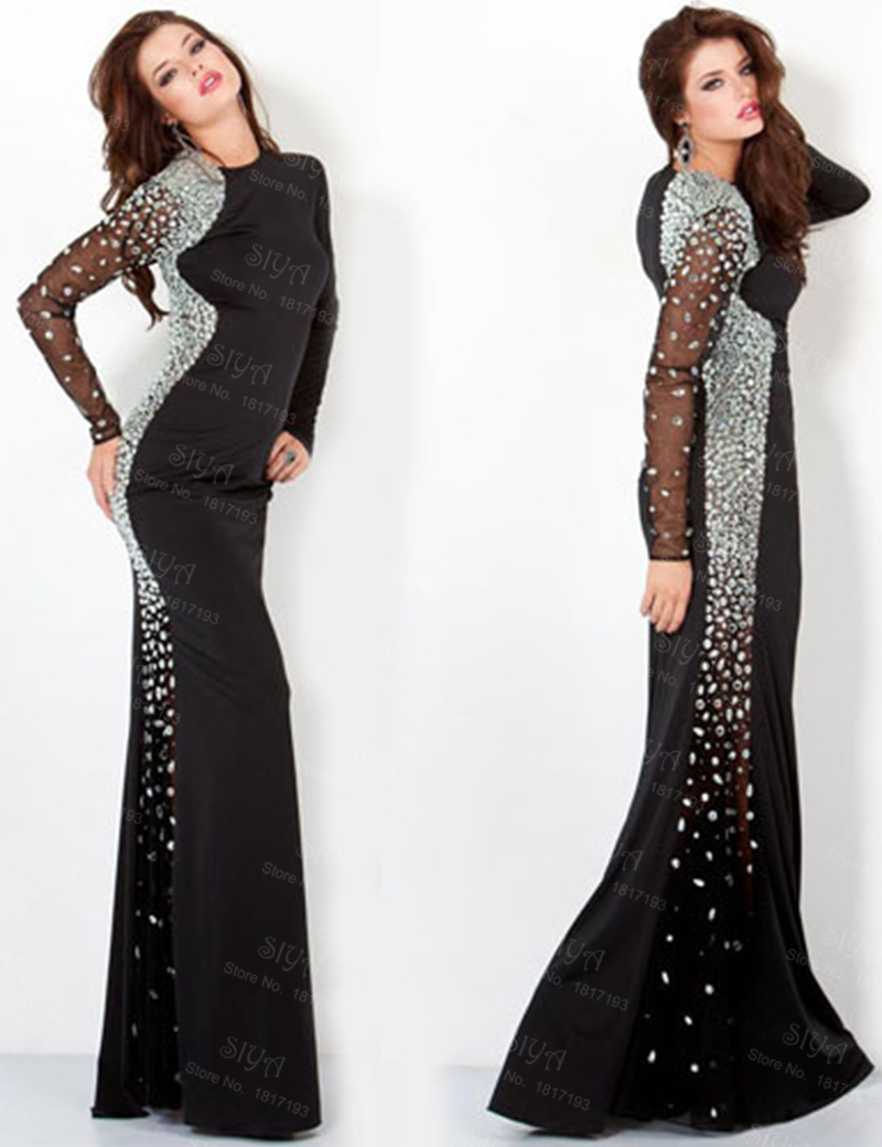 258916f1 Get Quotations · Vestido De Festa Sexy Mermaid Sheer Long Sleeve Evening  Gowns Sparkly Black Evening Dress With Beading