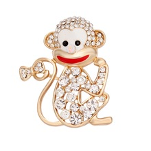 Custom lovely animal jewelry fashion gold plated monkey brooches for women