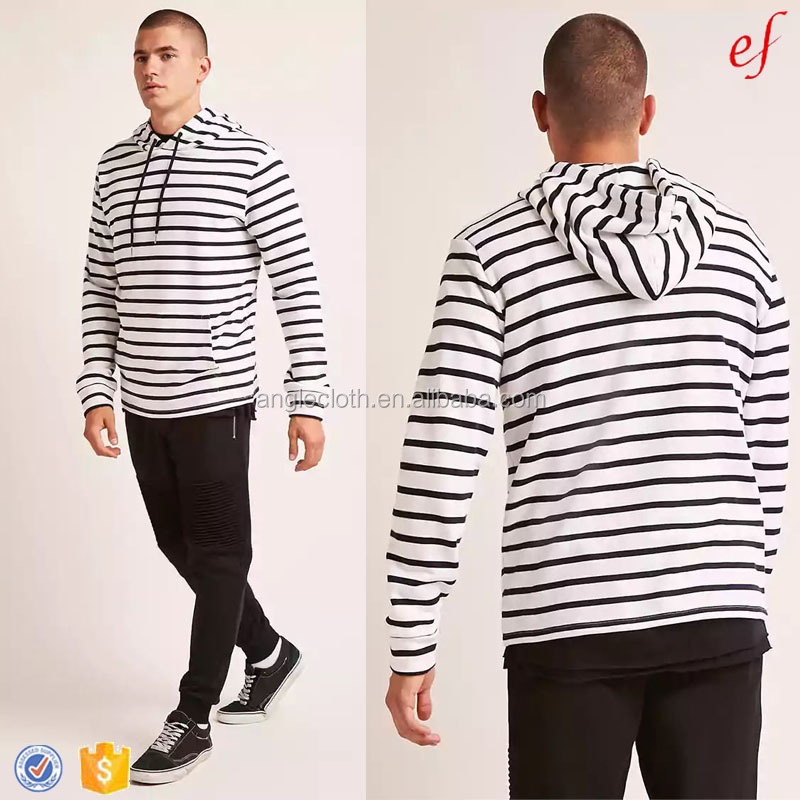 Wholesale High Quality Men's Long Sleeve Hoodies Black And White Striped Classic Hoodie Sweatshirt