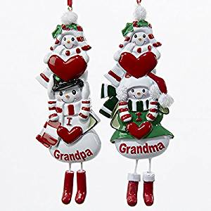 "Kurt Adler 5"" Resin ""I Love Grandma"" & ""I Love Grandpa"" Ornaments 2/asstd."