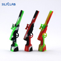 Siliclab 4.3 inch Silicone Rifle Hand Pipe with Metal Bowl Oil Rig Hookah Wax Pen Smoking Pipes