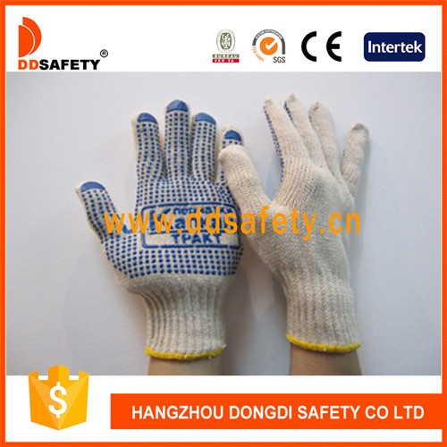 DDSAFETY High Quality Blue Pvc Dotted Cotton Safety Gloves Manufacturer