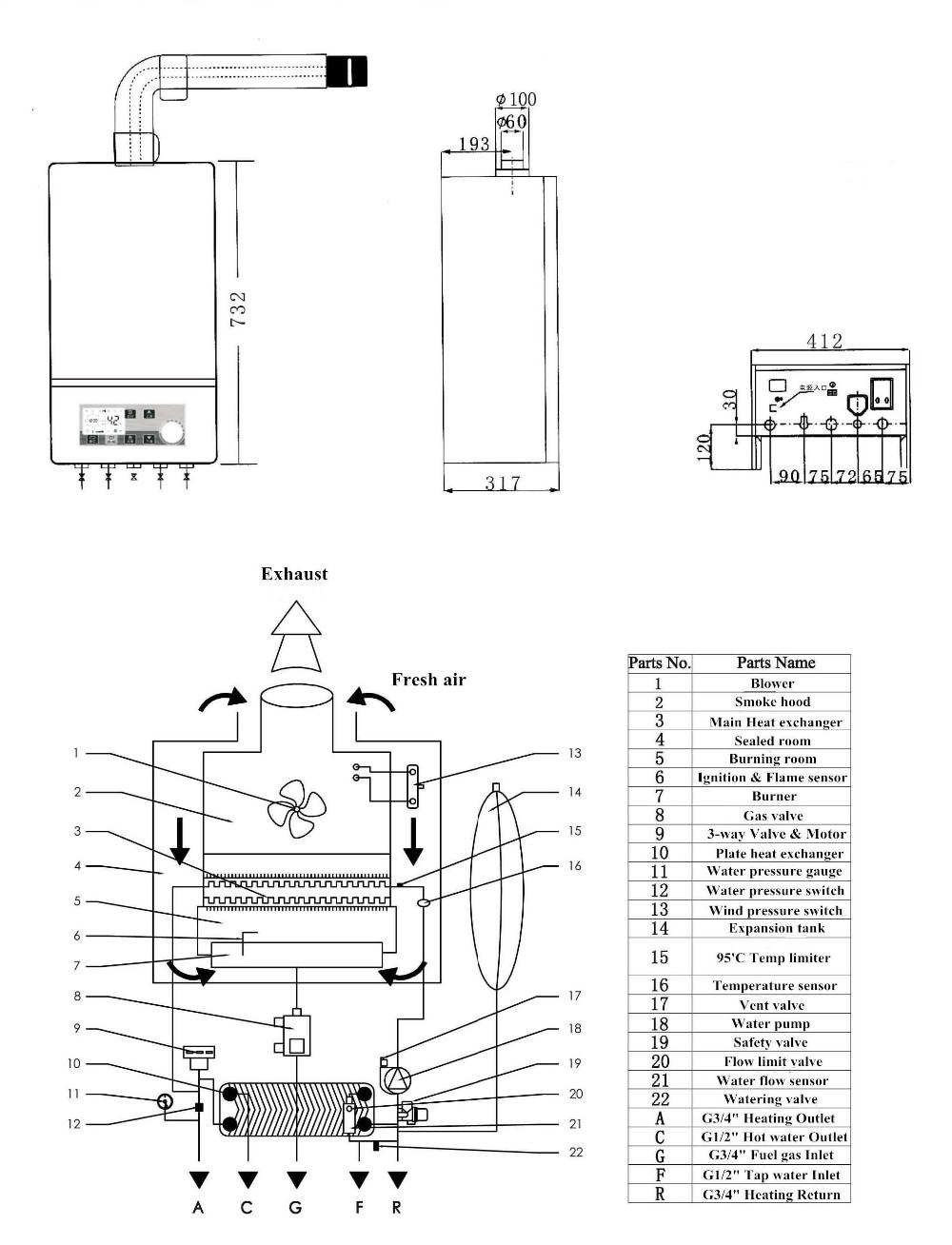wall mounted gas boiler for heating  u0026 hot water