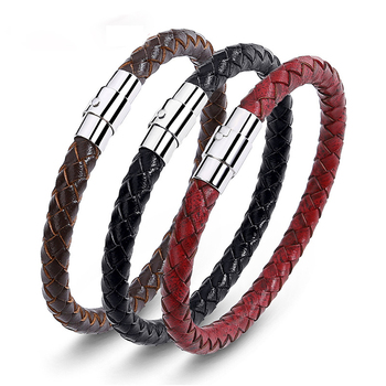 Hot Cheap Simple Men's and women's Universal 3 Color Available braided Leather Bracelet