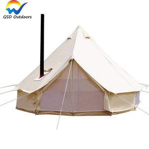 Hunting Glamping Bell Tent 6m Outdoor Stretch Awnnig Canopy Tent Waterproof Cotton Canvas Yurt Bell Tent with Jacket Stove