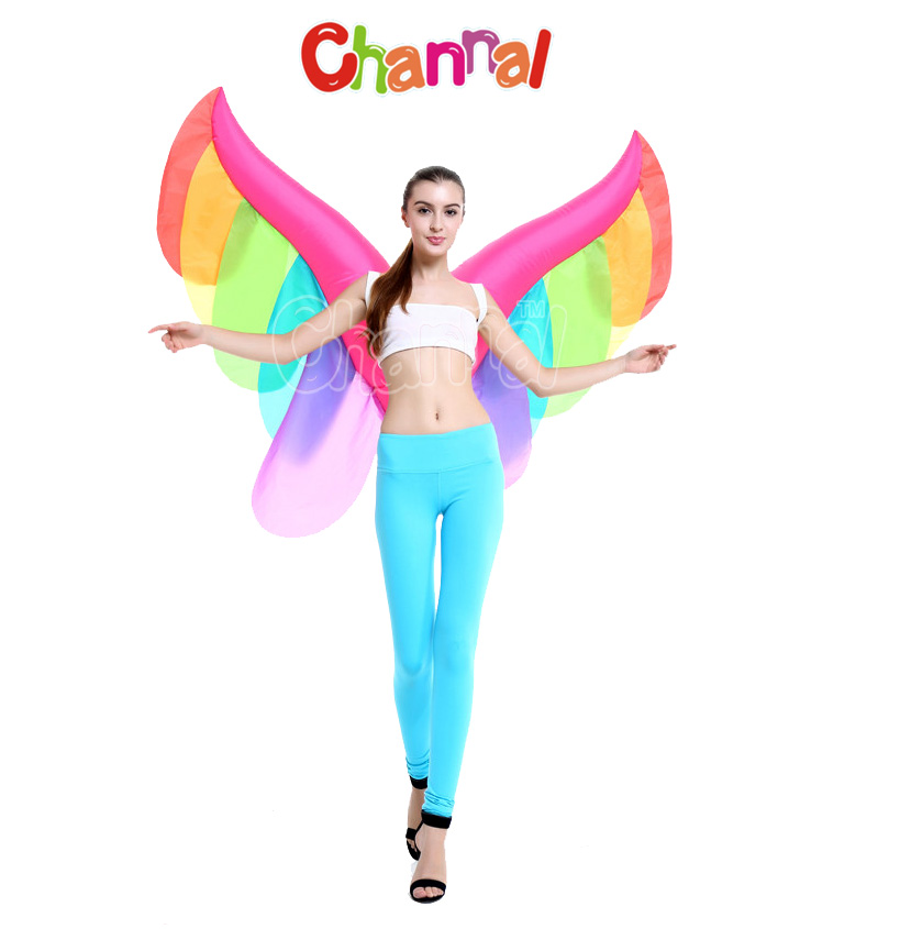 Inflatable Rainbow Butterfly Wings Sexy Halloween Costume