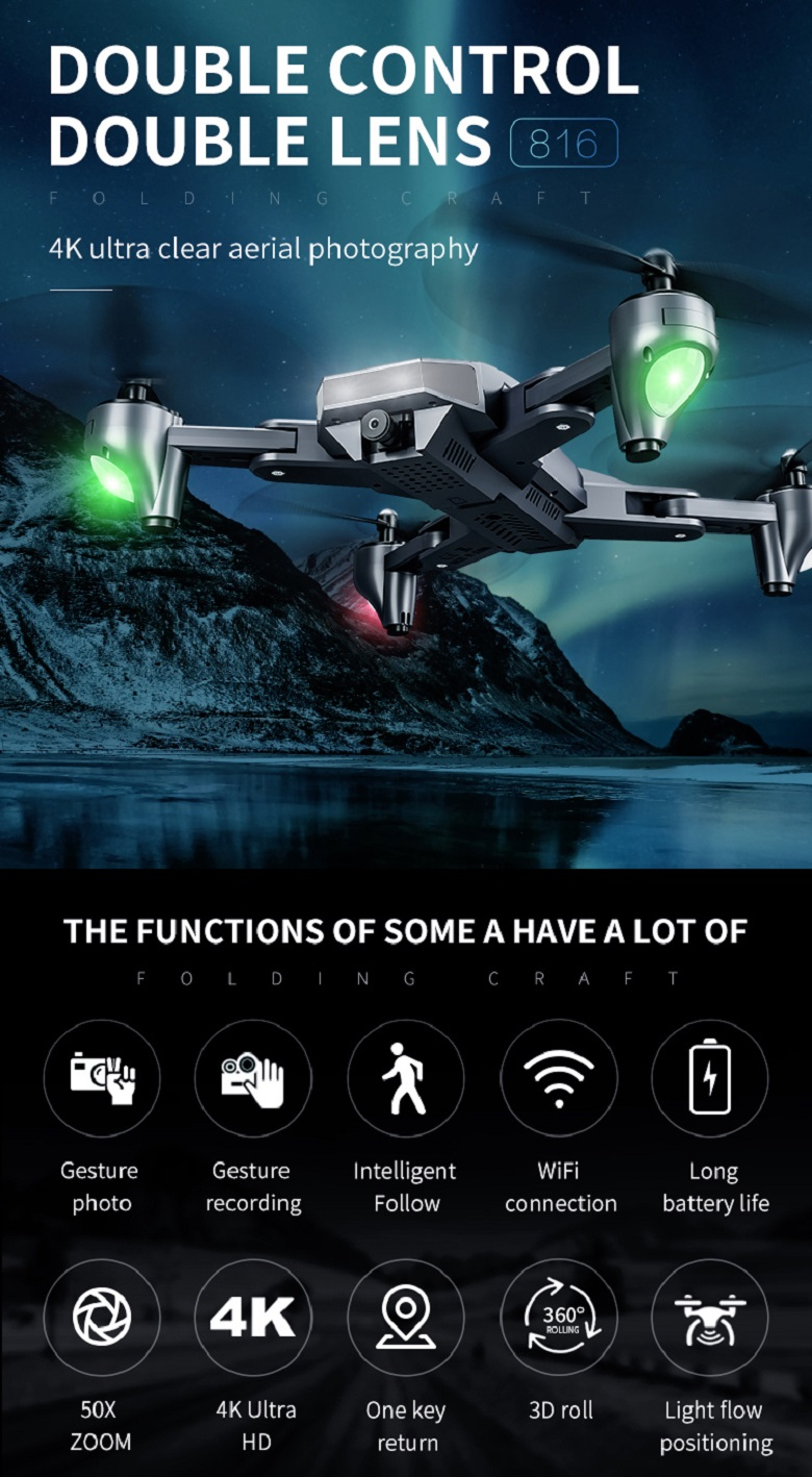 E-commerce Top selling Dron with 50 Times Zoom WiFi camera drone 4K Dual Camera Optical Flow rc Quadcopter drone mini drone toys