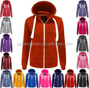 OEM LADIES WOMENS PLAIN HOODIE HOODED ZIP TOP ZIPPER SWEATSHIRT JACKET COAT STRING