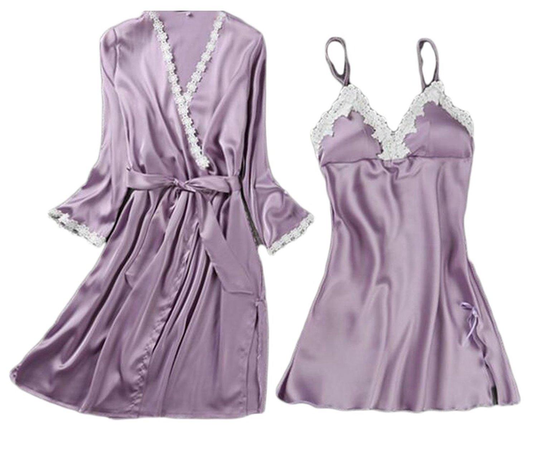 b85d678326 Get Quotations · Cromoncent Womens Lace Trim Chemise Nightgowns 2-Piece Bathrobes  Robes
