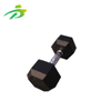 Gym equipment hex rubber coated dumbbell with chromed steel handle