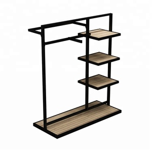 Wood metal bag display stand display shelf stand for hanging items for clothing retail store