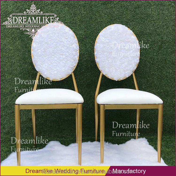 White Oval Rose Shaped Back Iron Frame Metal Fabric Banquet Dining Chairs -  Buy White Dining Chairs,White Metal Dining Chairs,White Fabric Dining ...