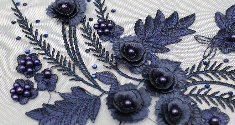 3d lace fabric embroidery beads embroidered fabric for dress french lace embroidery fabric