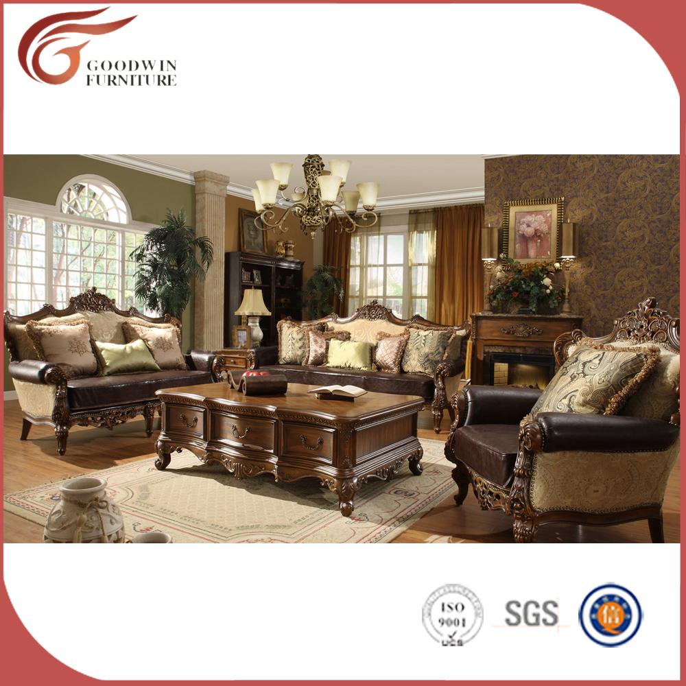 Italienische luxus wohnzimmer möbel neue modell holz klassisches sofa sets a24