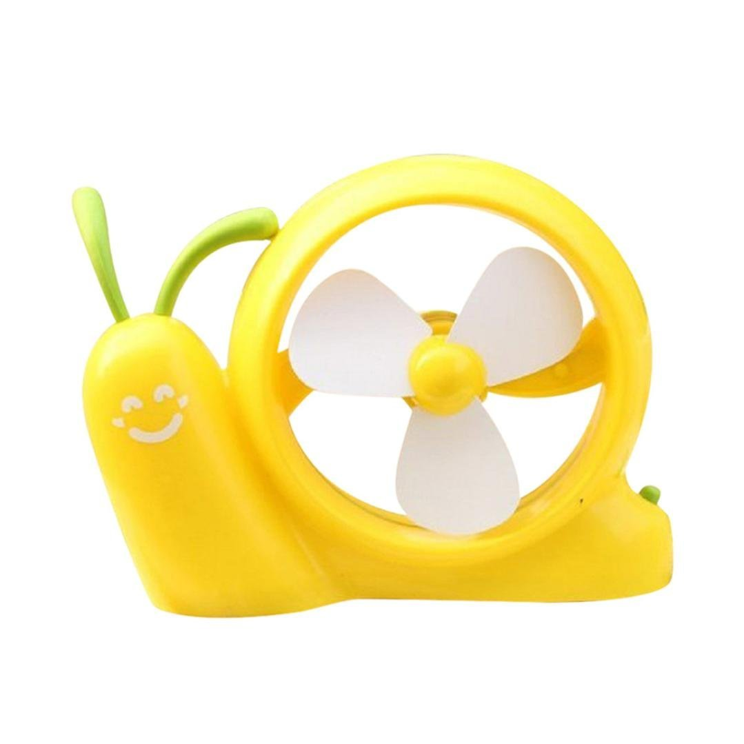 Rumas Portable Snail Fan USB Power Laptop Desk Cooling Cooler Air Fan USB Cooler (Yellow)