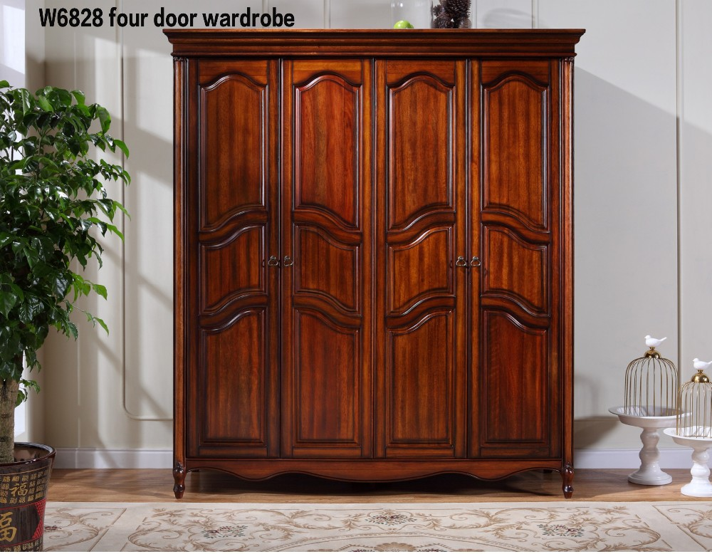 W6828 luxury antique solid wood 4 door wardrobe armoire Luxury wood furniture