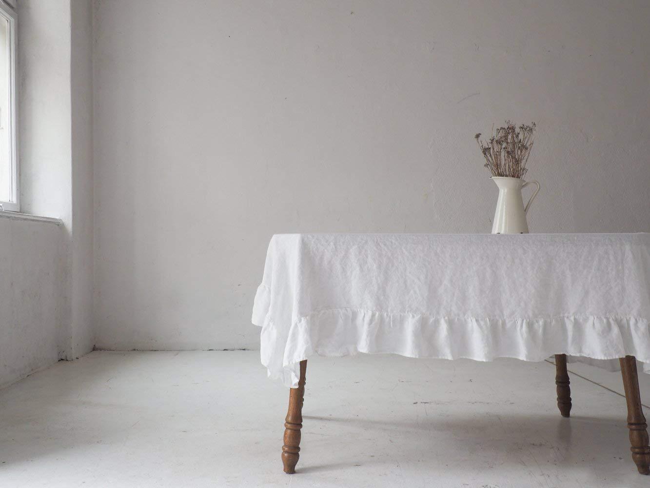 Linen tablecloth, ruffled linen tablecloth, white linen tablecloth