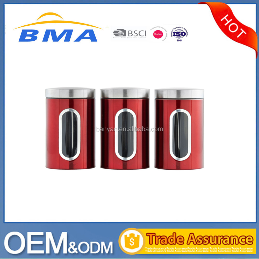 Red Stainless Steel Kitchen Storage Canister Set