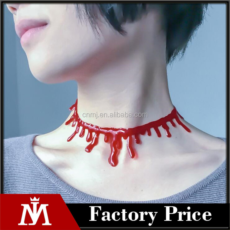 Bloody Red Blood Necklace Creative Cutting Simulation Bleeding Necklace for Halloween